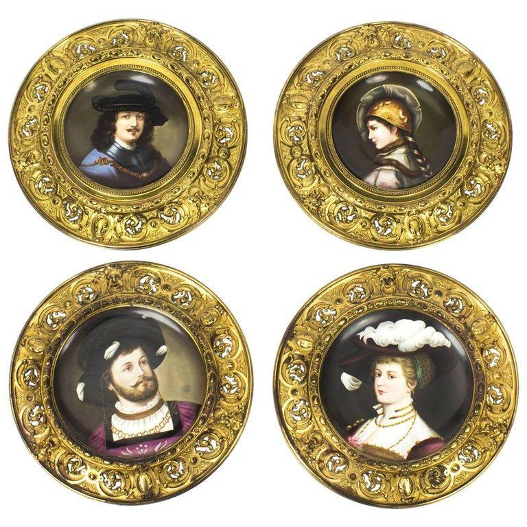 Set Of Four 1stdibs Porcelain - Antique Dresden -Mounted Wall Plaques German Porcelain, Ormolu