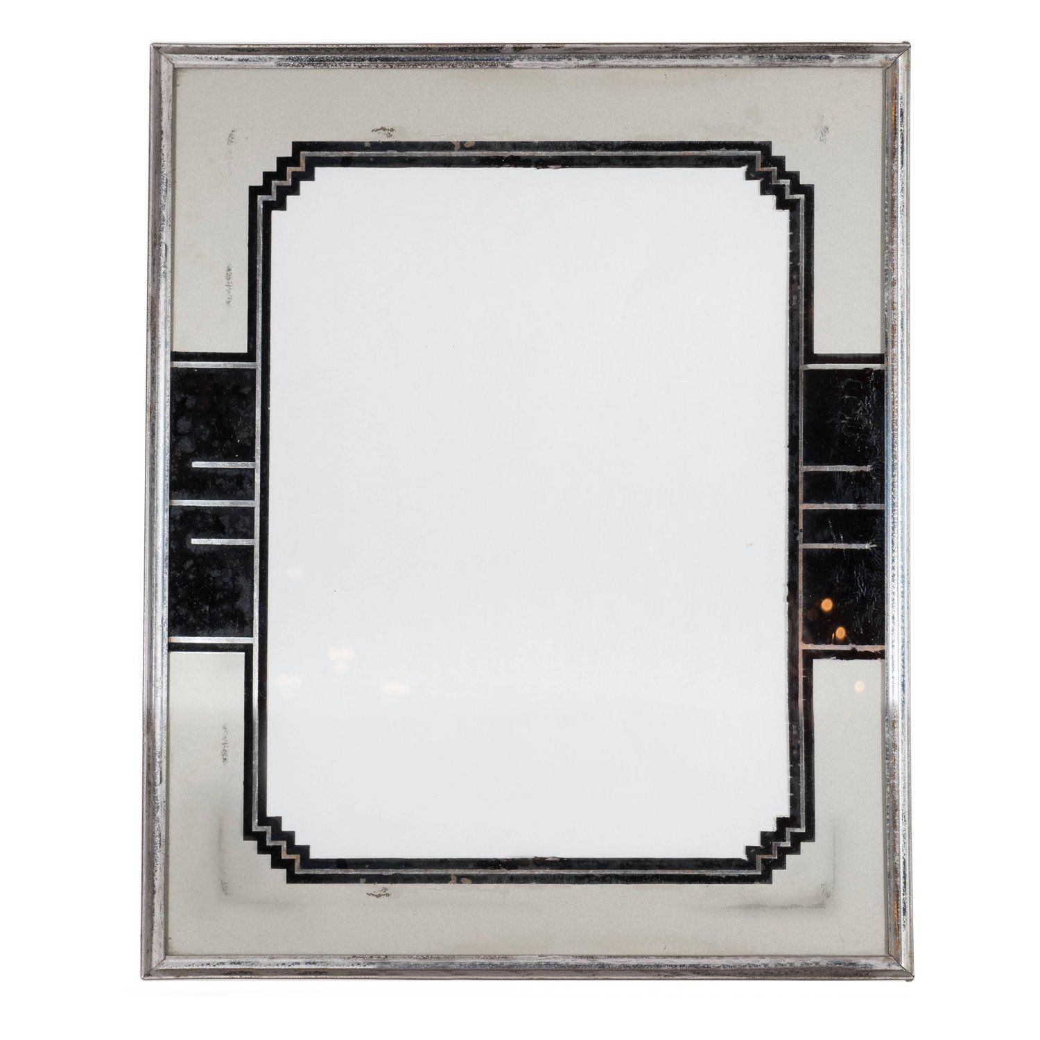 Skyscraper Style Art Deco Reverse Painted Chrome And Silver Leaf Picture Frame Picture Frames Art Deco Deco
