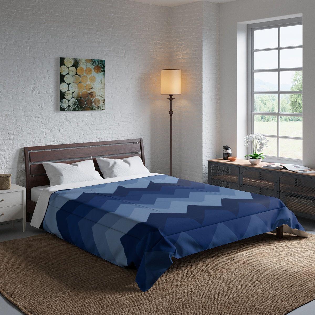 Navy Blue Chevron Comforter Bedding
