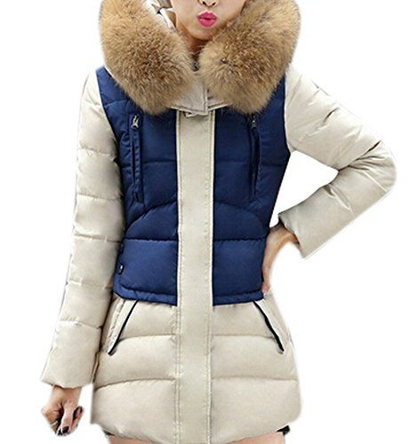 Allbebe Women Winter Chevron Packable Down Coat with Fur Hooded Puffer Jacket -- Check out the image by visiting the link.