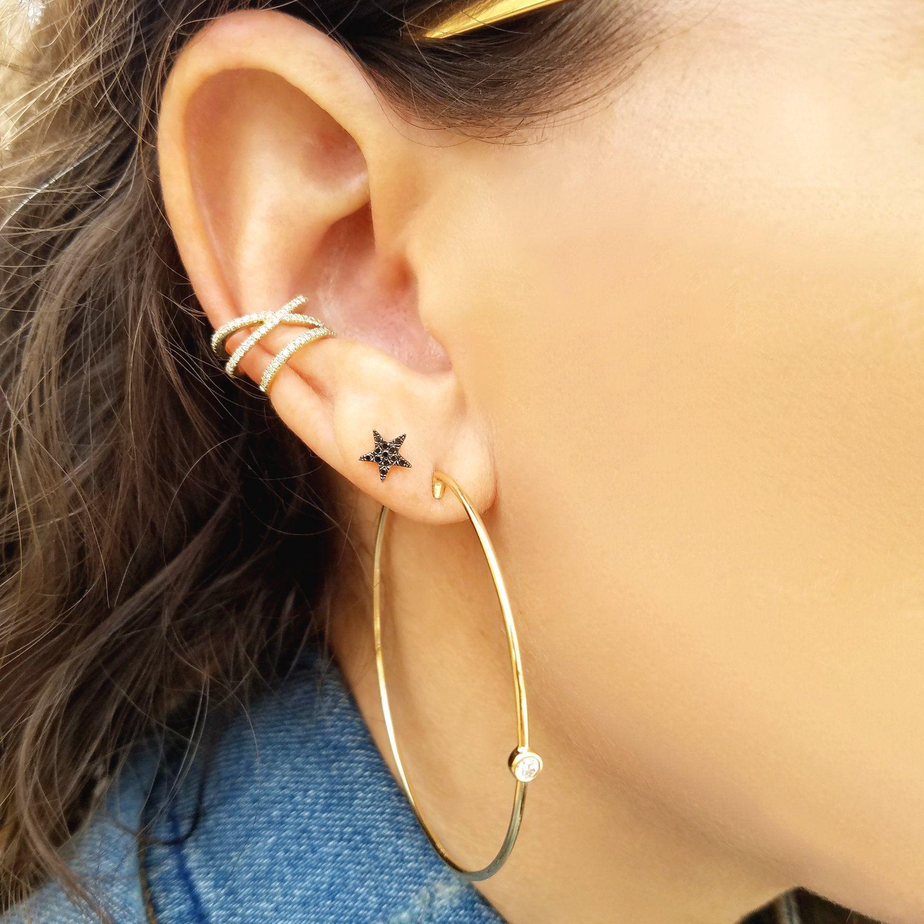 Yellow nose piercing  Elegant K Gold Hoop Earrings featuring a single brilliant diamond