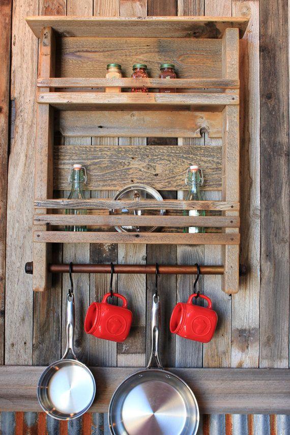 2 Shelf Kitchen Organizer Display Storage Cubby by RundownRustics