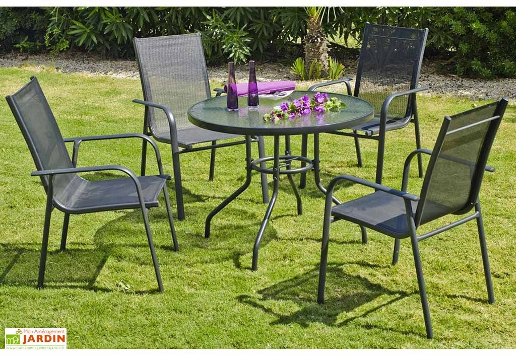 Salon de Jardin en Aluminium : Table Ronde et 4 Chaises Anthracite ...