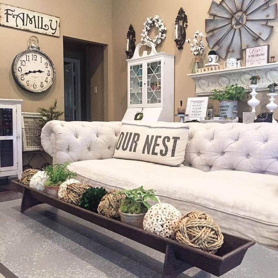 Tufted White Couch And French Linen Pillow Farm House Living Room Farmhouse Living Room Furniture Farmhouse Decor Living Room