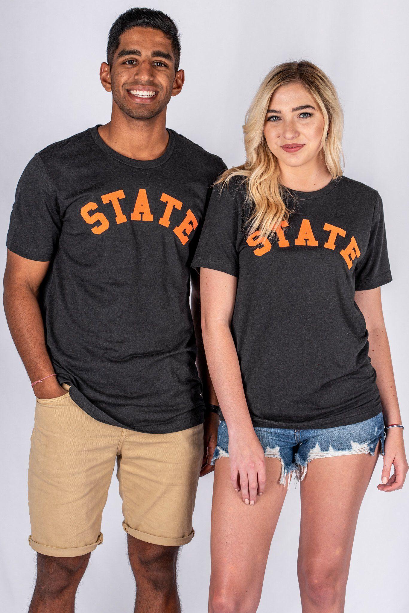 555714d858e State flocked unisex short sleeve t-shirt black