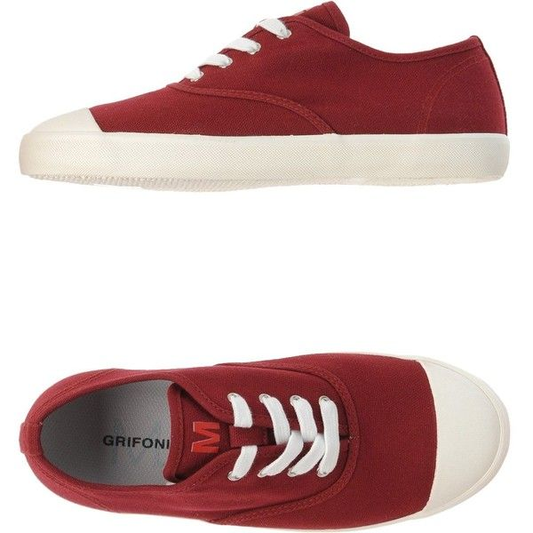 M.grifoni Denim Sneakers ($54) ❤ liked on Polyvore featuring shoes, sneakers, maroon, round toe sneakers, round toe flat shoes, flat sneakers, m.grifoni denim and maroon shoes