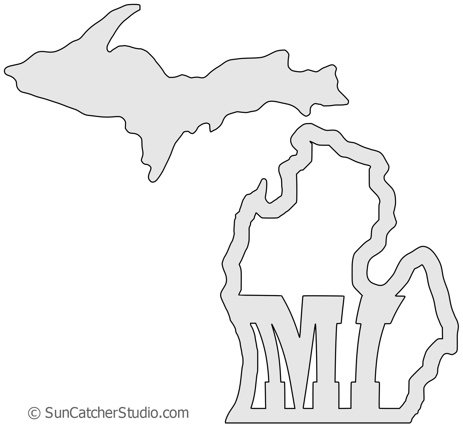 Michigan Map Outline Printable State Shape Stencil Pattern Free Stencils Printables Printable Stencil Patterns Map Outline
