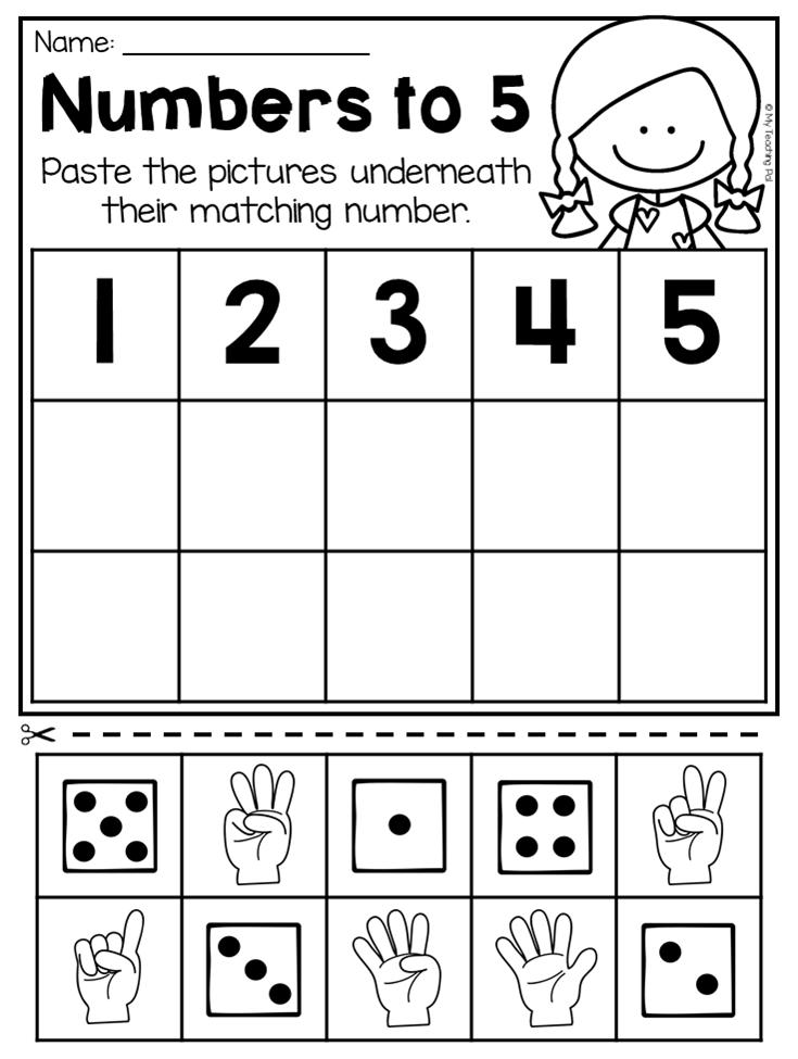Number practice worksheets for kindergarten