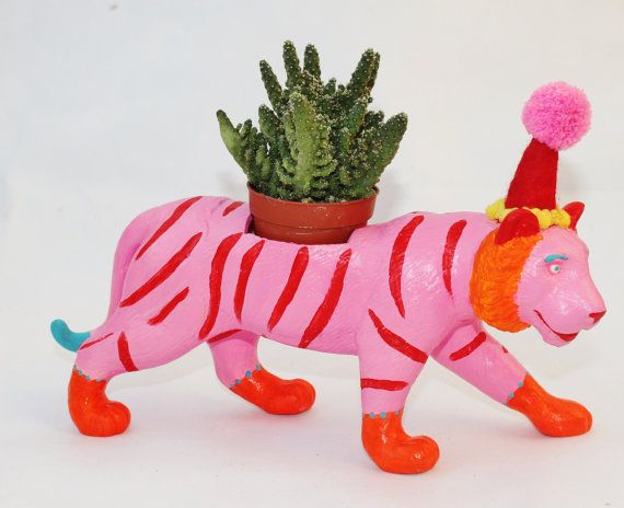 Hand Painted Circus Tiger Planter.