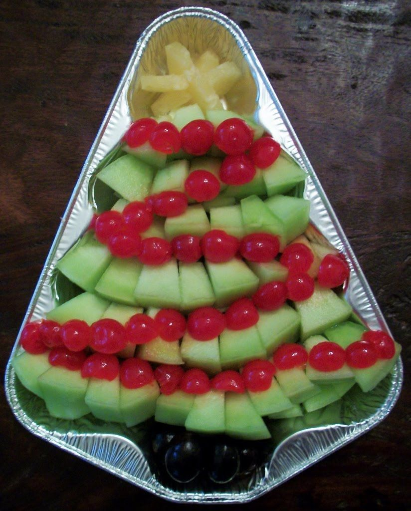 Fruit Tree.......1 honeydew melon, maraschino cherries, 1 pineapple slice from a can, and just a few dark grapes.