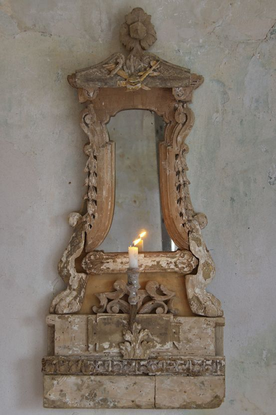 Antique candle holder and mirror