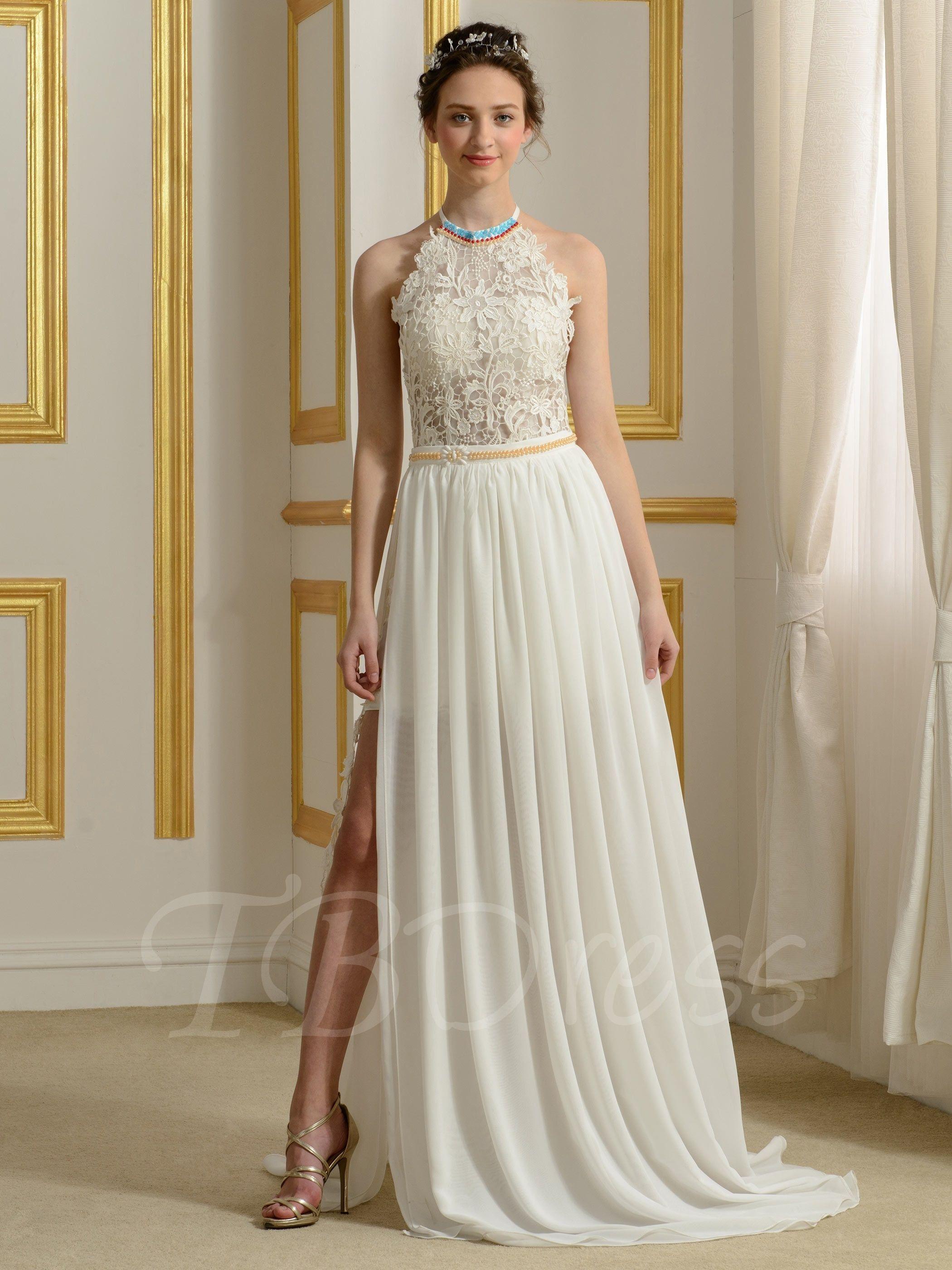 Sexy Backless Halter Neck Split-Front Lace Chiffon Beach Wedding Dress