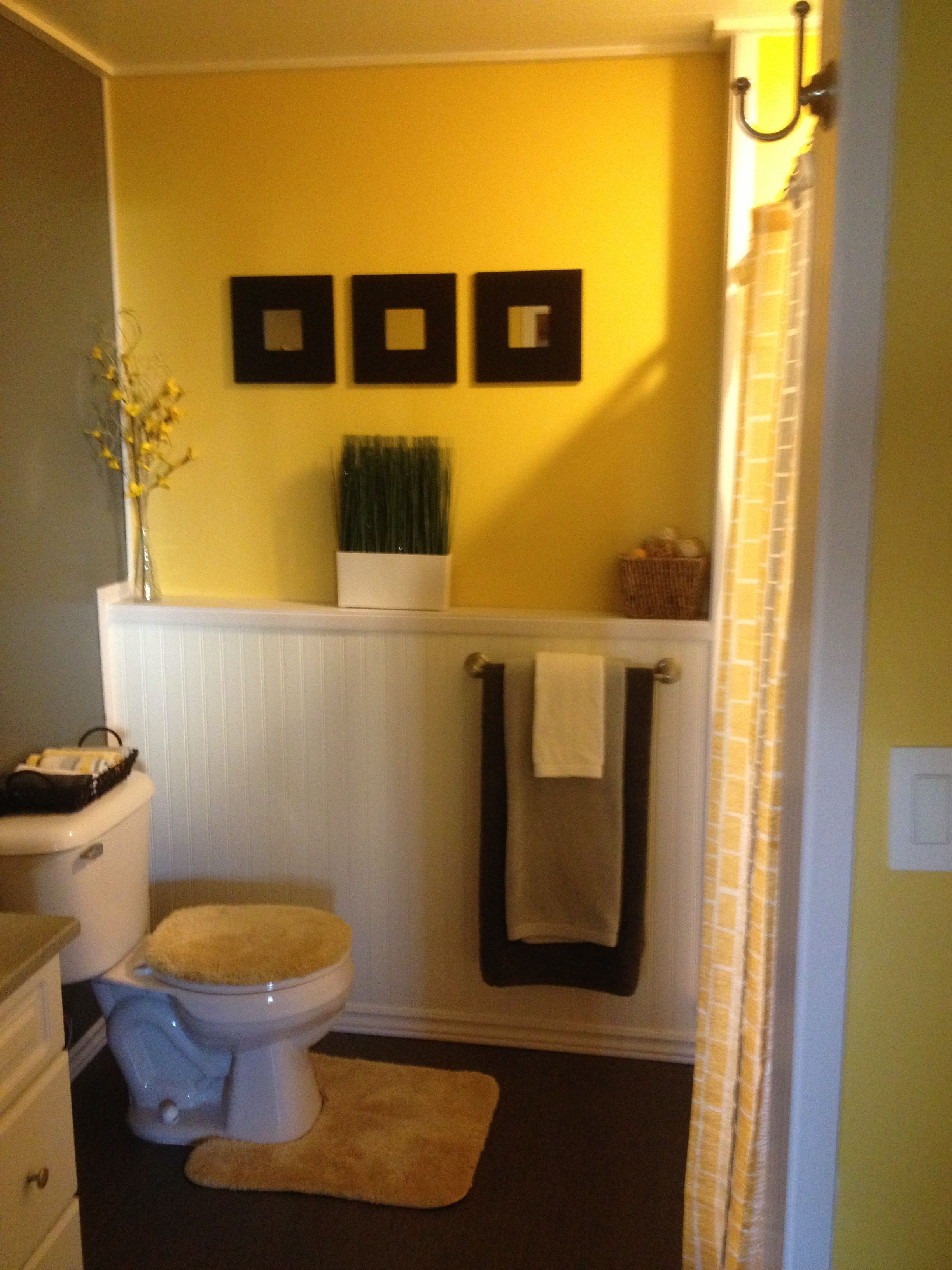 Grey and yellow bathroom needs a little softer yellow but i love yellow and grey