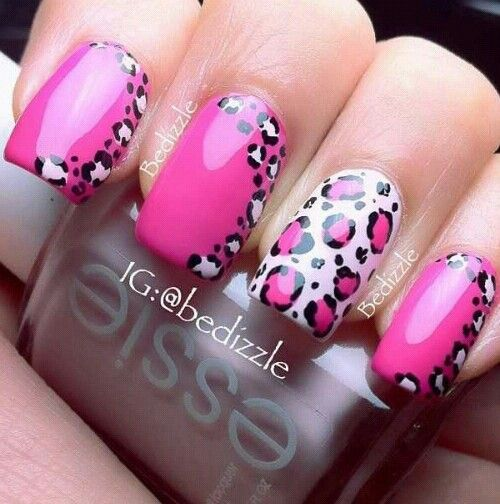 Hot Pink Animal Print Cute Nails Leopard Nails Pretty Nails