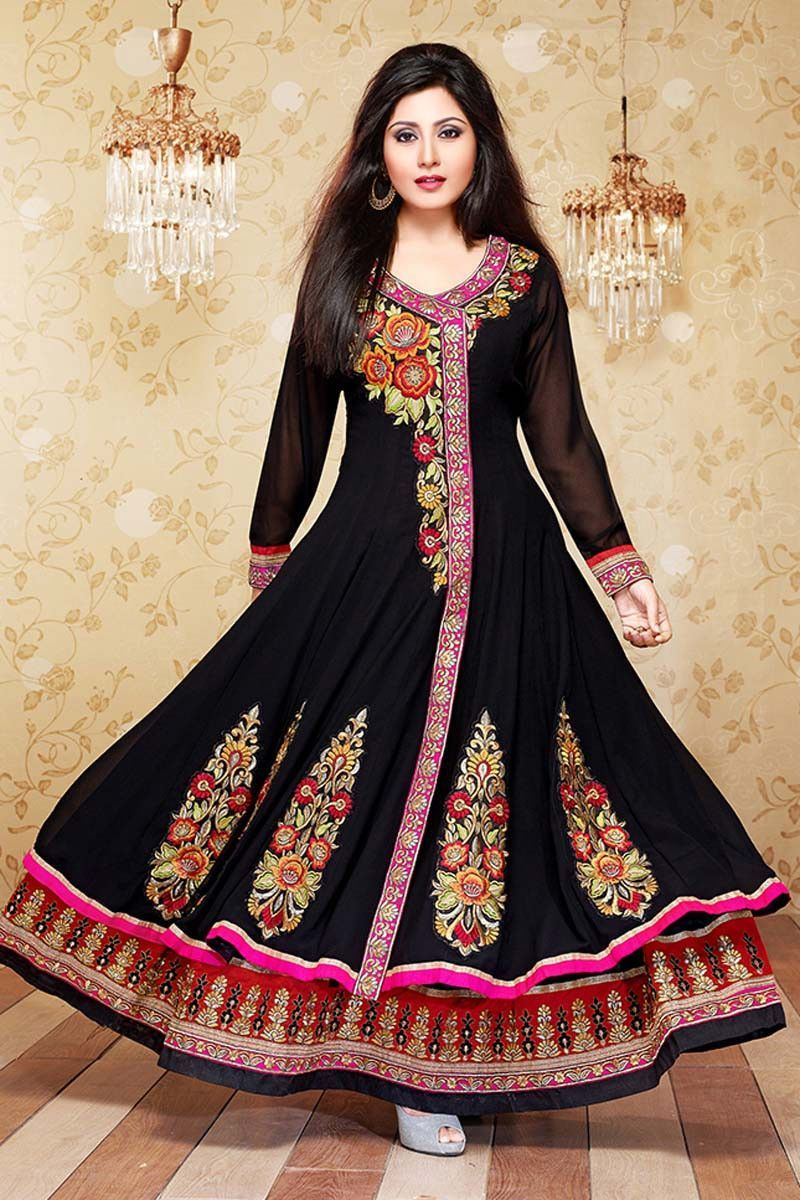 Black Georgette Anarkali Salwar Kameez with Dupatta