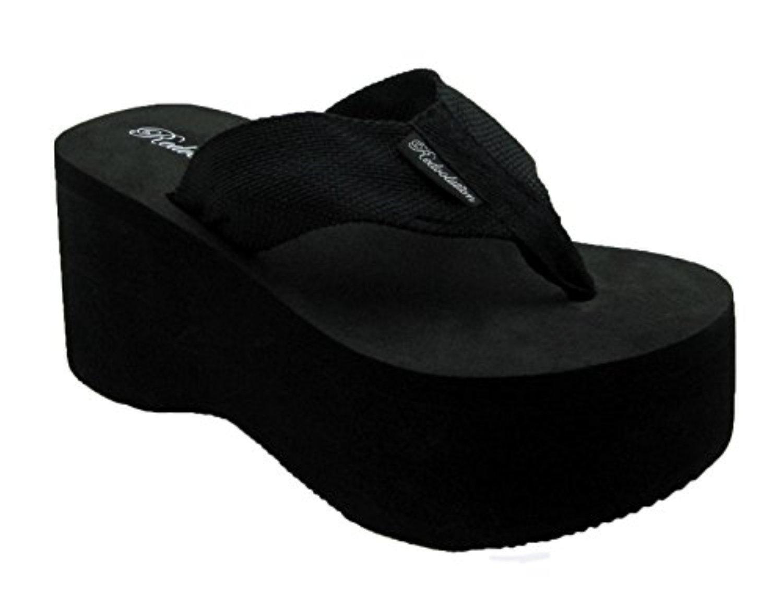 e2ecc749db1 Cute   Chunky High Platform Wedge EVA Flip-flop Sandals for Women (8 ...