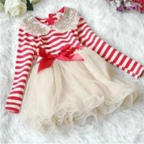 14f1ad438e968 Christmas Dress for Little Girls Long Sleeve Candy Canes Colors Dress Gift