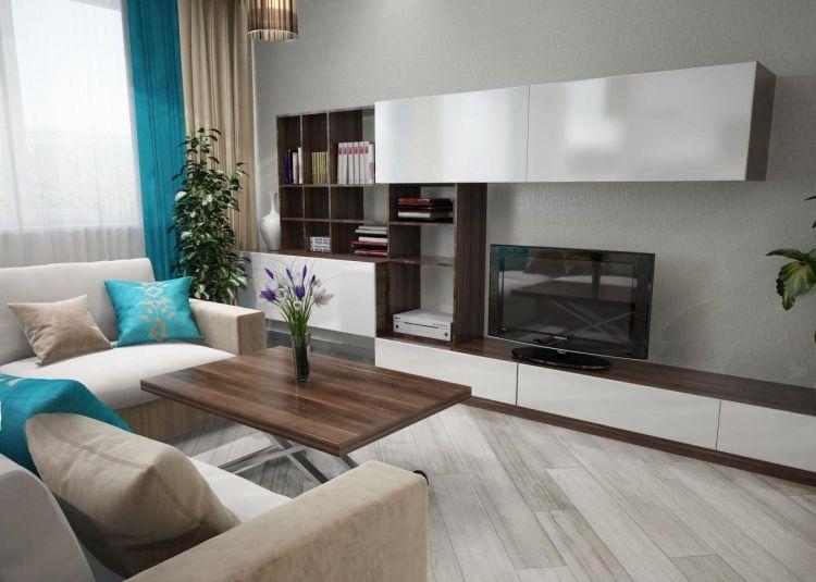 Wohnzimmer Modern Einrichten Graue Wandfarbe Wohnwand Weiss Dunkles