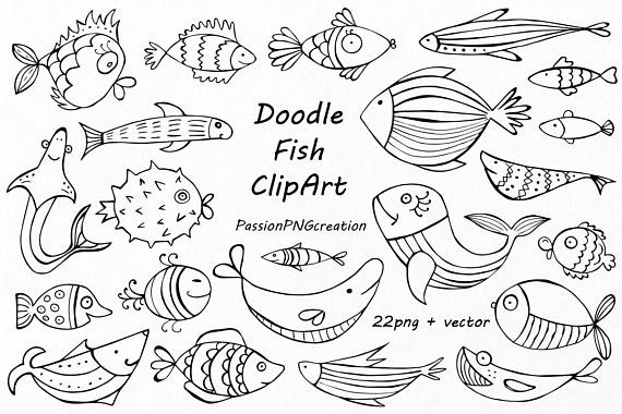 Doodle Fish Clipart Aquarium Png Eps Ai Vector Hand Drawn Fish Clip Art Line Art Design Elements For Personal And Commercial Use In 2021 Fish Clipart Drawn Fish Fish Drawings