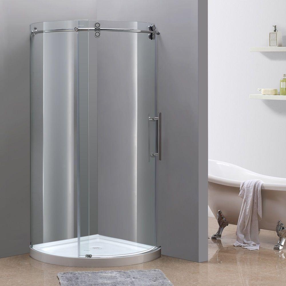 Orbitus 36 Inch X 36 Inch X 77 1 2 Inch Frameless Round Shower