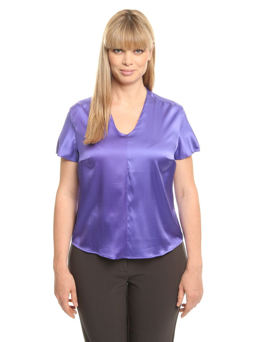 2e225d0c8cfde Purple plus size satin blouse