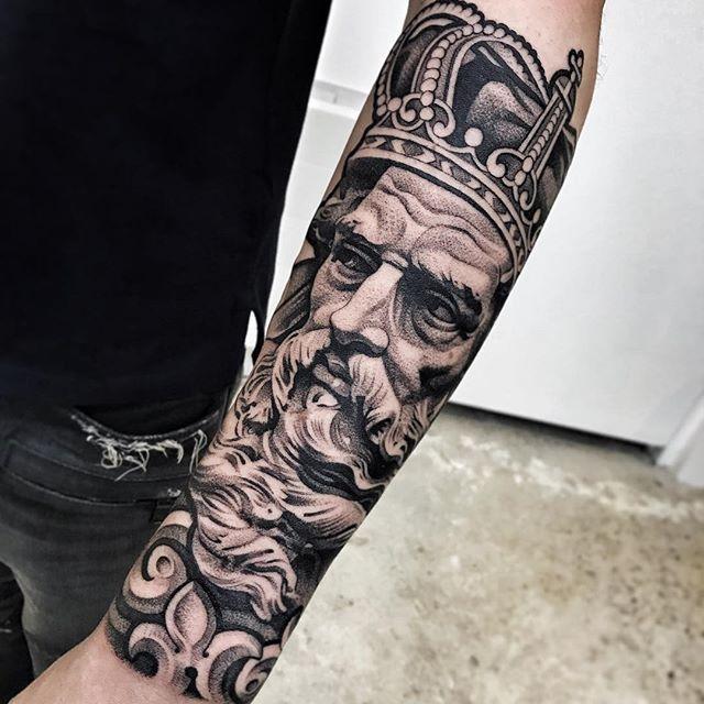 Sleeve Tattoo Generator: Fantastic Black And Grey Realism / Dotwork Zeus Tattoo