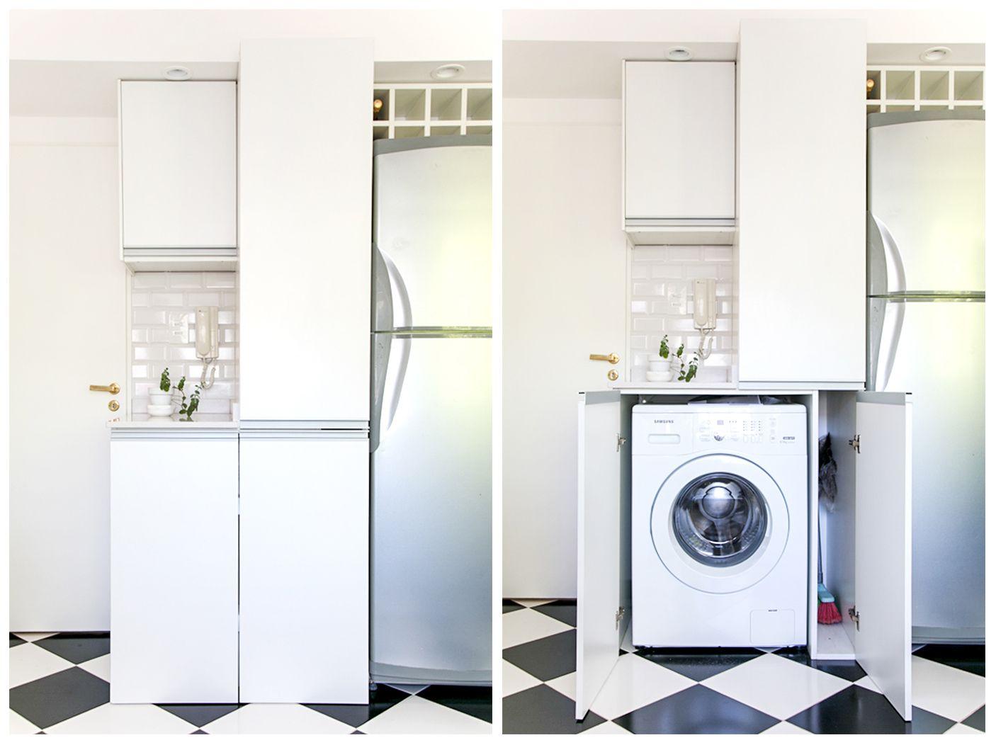 Mueble de cocina que esconde el lavarropas y genera espacio de ...