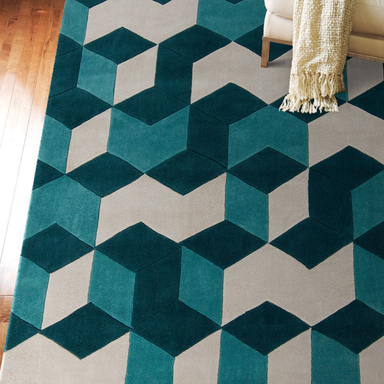 geometric rug pattern. Hand-tufted Beecher Geometric Teal Area Rug (8\u0027 X 11\u0027) (Teal-(8\u0027 11\u0027)), Green, Size 8\u0027 11\u0027 Pattern I