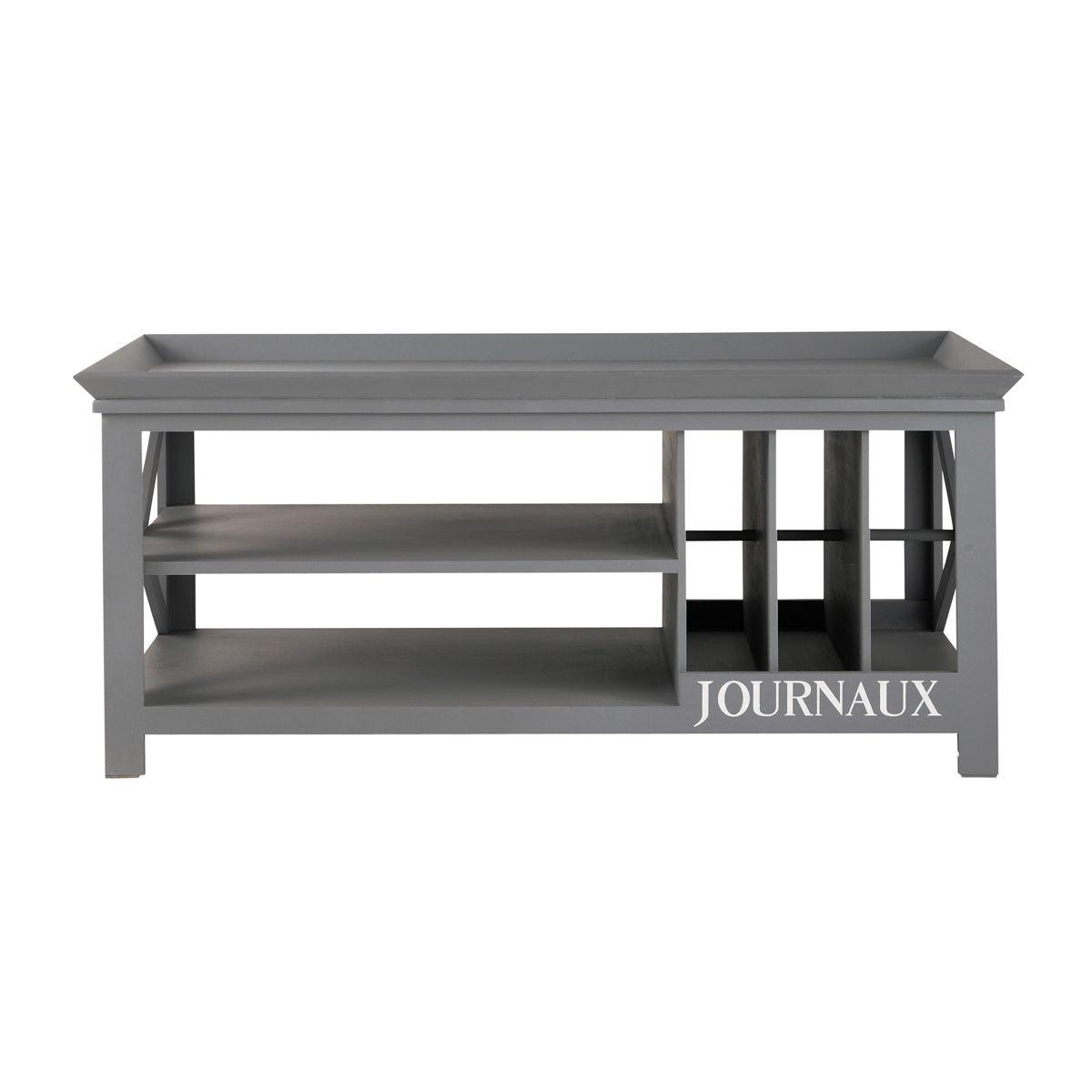 table basse journaux bois gris newport