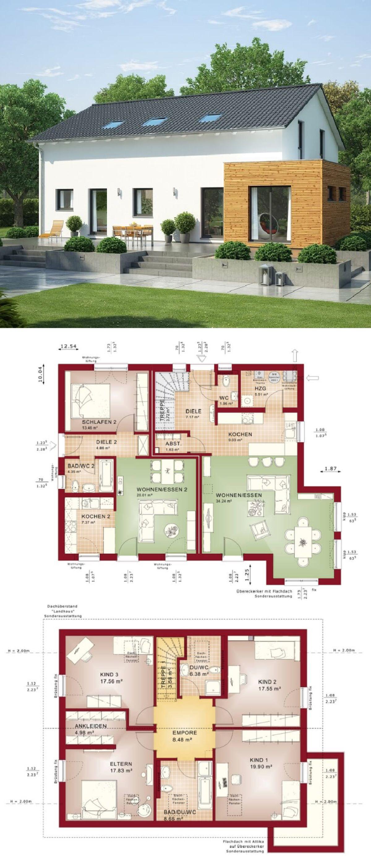 Zweifamilienhaus mit einliegerwohnung satteldach for Architektur einfamilienhaus grundrisse