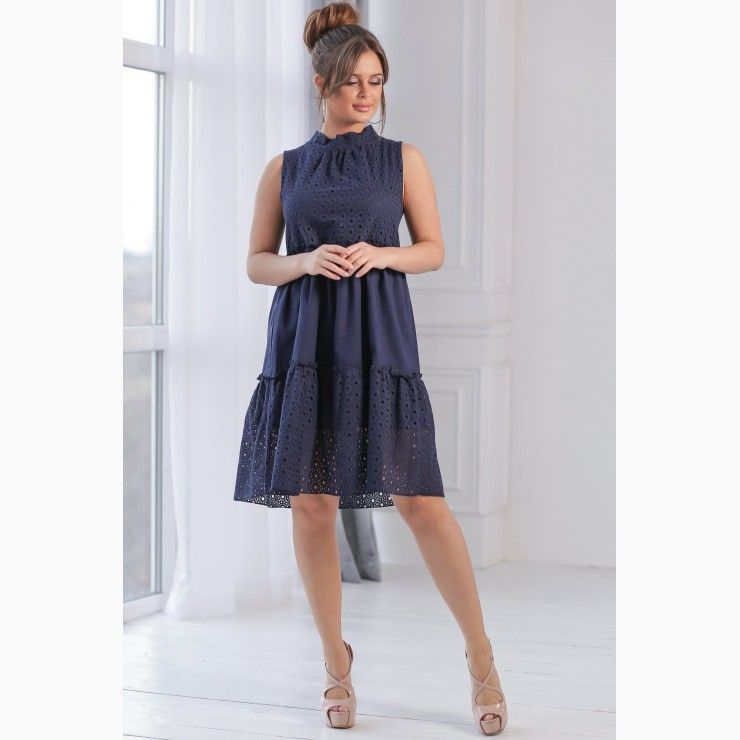 Short dress in linen-Navy Blue #navyblueshortdress Short dress in linen-Navy Blue - Chopni #navyblueshortdress