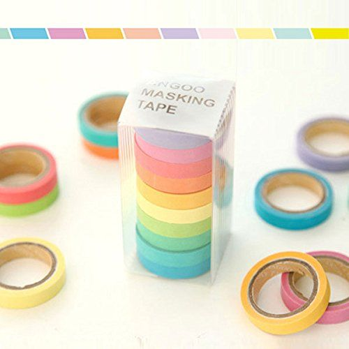 10x Diy Decorative Washi Rainbow Sticky Paper Masking Adhesive Tape Scrapbooking Label Craft Idealhere Http Www Amazon Washi Tape Masking Tape Adhesive Paper