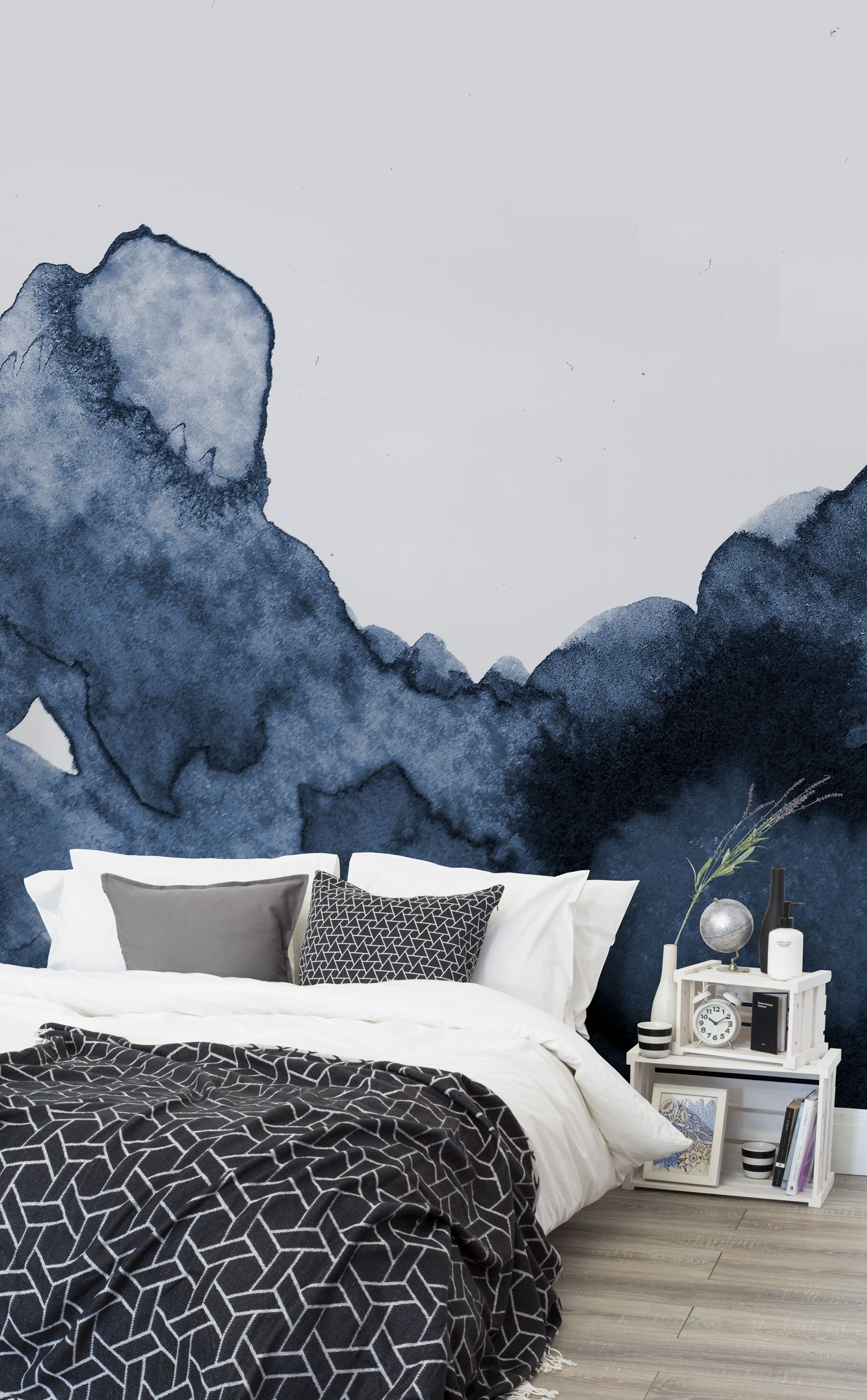deep blue waves watercolor wall mural