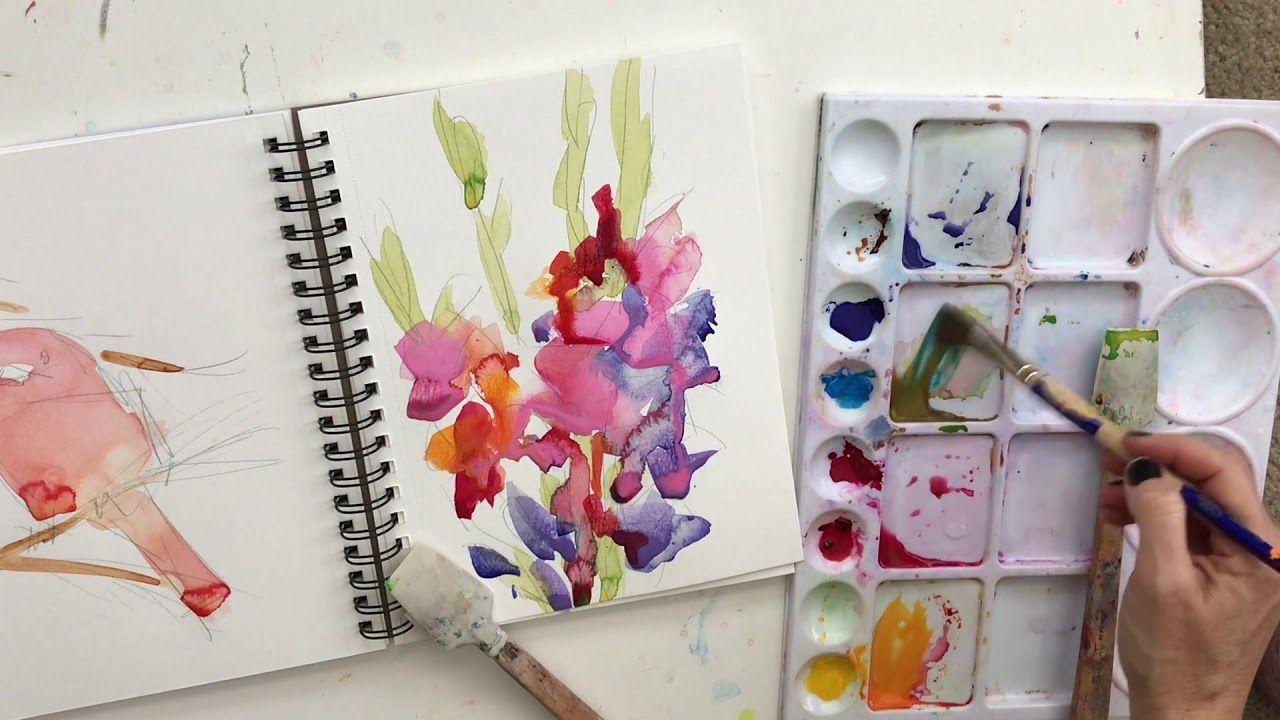 Watercolor Drip Art Gladiolus Speed Painting Drip Art Speed