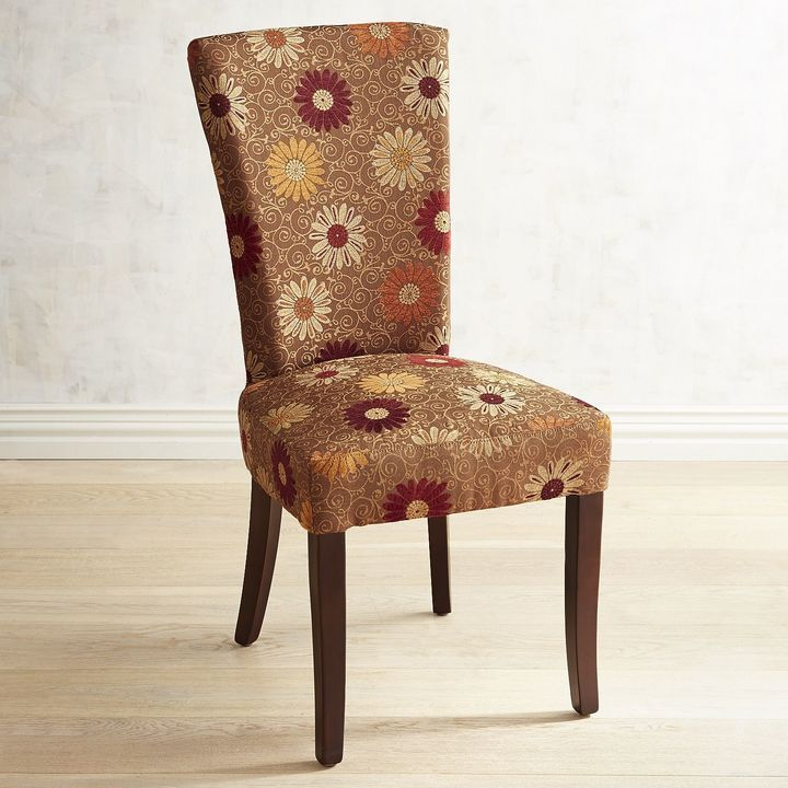 Adelaide gold floral dining chair with espresso wood