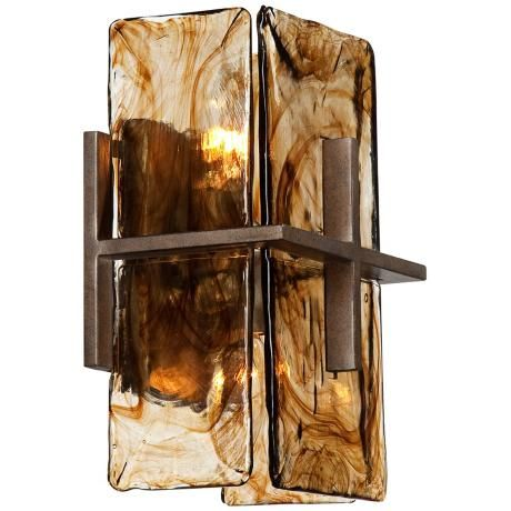 Bronze Gold Art Glass 8 Quot Wide 1 Light Wall Sconce V1965 Lamps Plus Wall Sconces