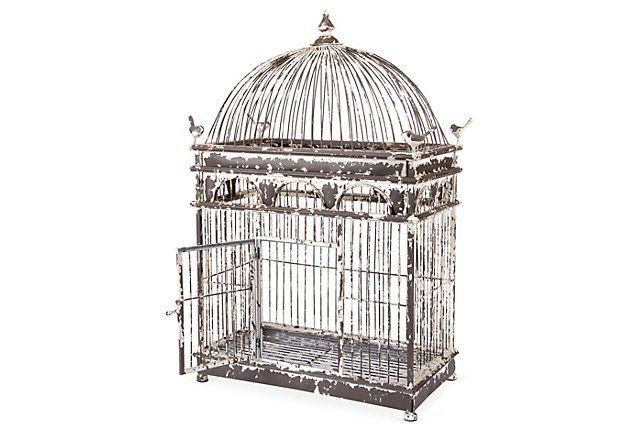 """- 32"""" Iron Birdcage, Black/White"""