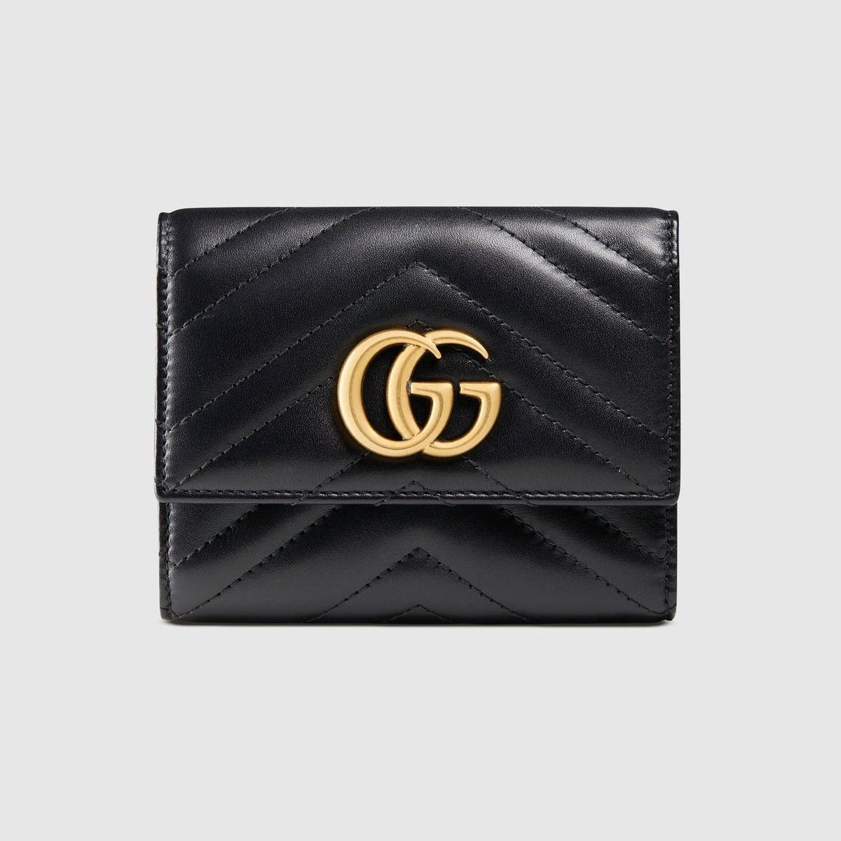 caabb6d8280 GUCCI Gg Marmont Matelassé Wallet - Black Matelassé Leather.  gucci  all
