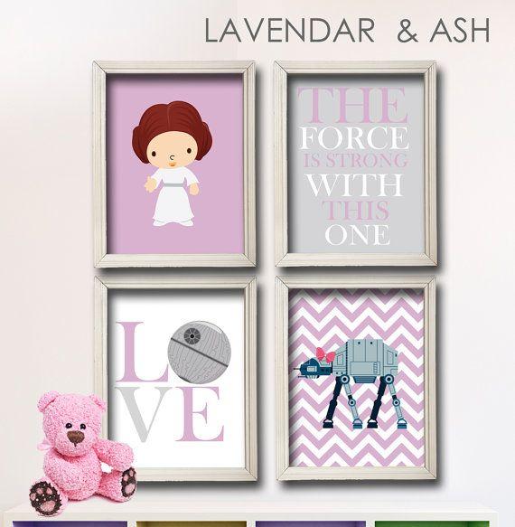 baby girl star wars nursery art girl room decor print set star