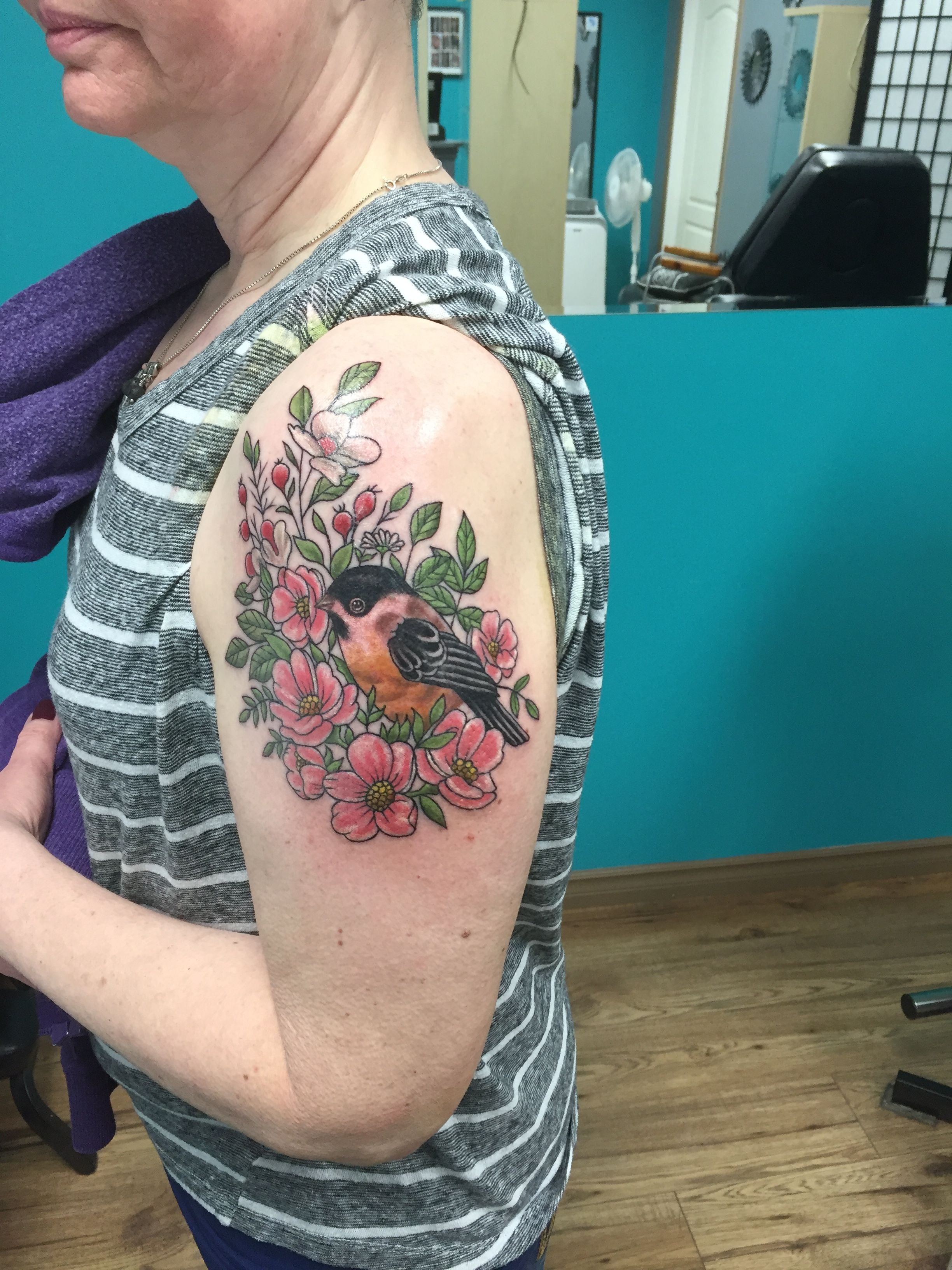 Beautiful Realistic Chickadee Tattoo By Australian Realism: Chickadee And Flowers Tattoo Done By Syl From Nautical Ink