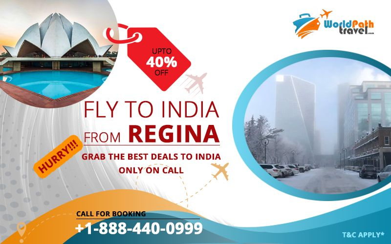 REGINA TO INDIA FLIGHT DEALS : GET UPTO 40% OFF ON ROUND TRIP FROM REGINA TO INDIA.  Call #worldpathtravel and choose from numerous affordable #dealstoindia for your Travel!  Call: +1-888-440-0999  #flightticketstoIndia #bestflightdealstoindia #TriptoIndia #SpecialDiscounts #Canadatoindiaflights #bestdealstoIndia #cheapflightstoIndia.