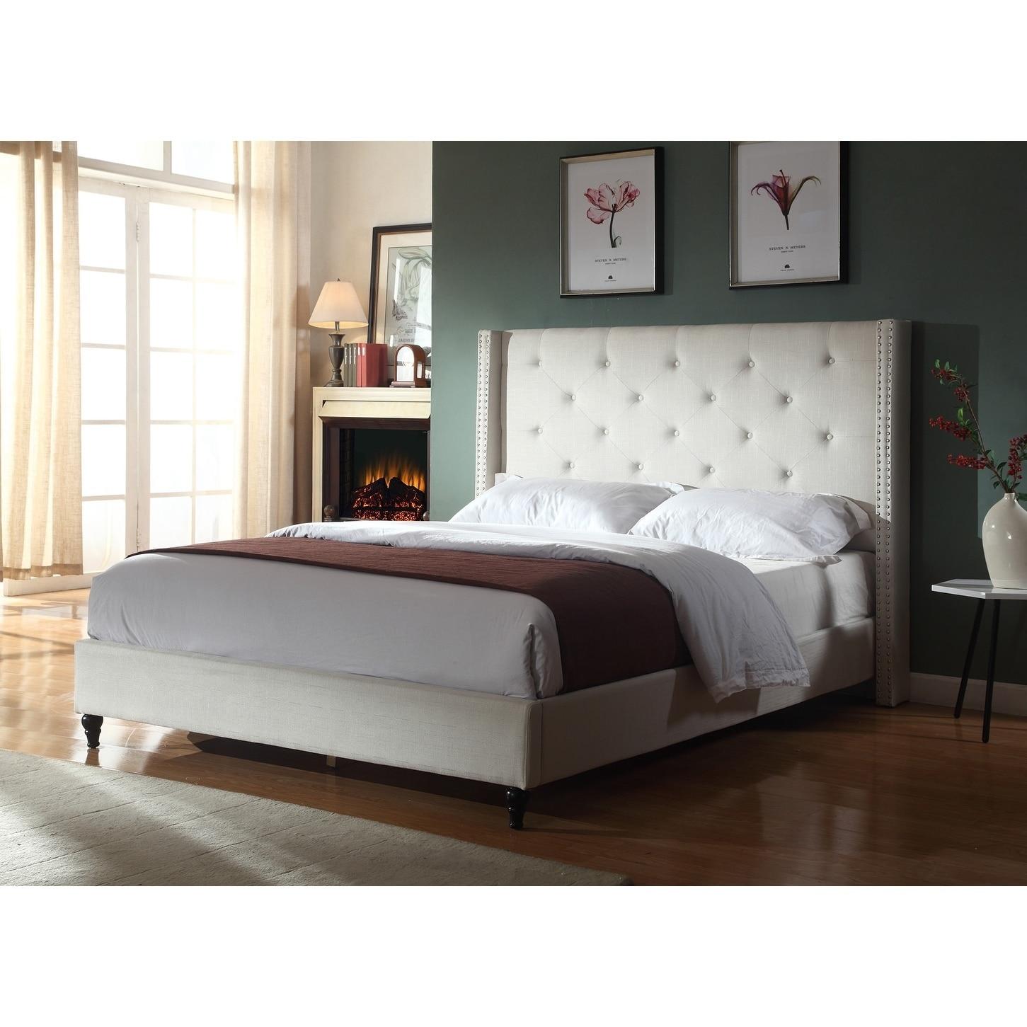 Best Master Furniture Upholstered Wingback Panel Bed