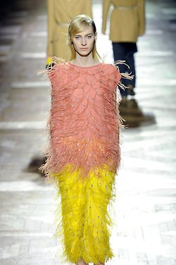 wgsn:  A pink and yellow feathered dress? @DriesVanNoten makes it work! #PFW