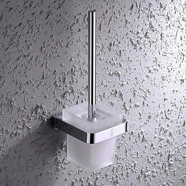 Sbwylt Hpb Contemporary Chrome Finish Brass And Stainless Steel Wall Mounted Toilet Brush Holder With Gla Toilet Brush Holders Wall Mounted Toilet Toilet Brush