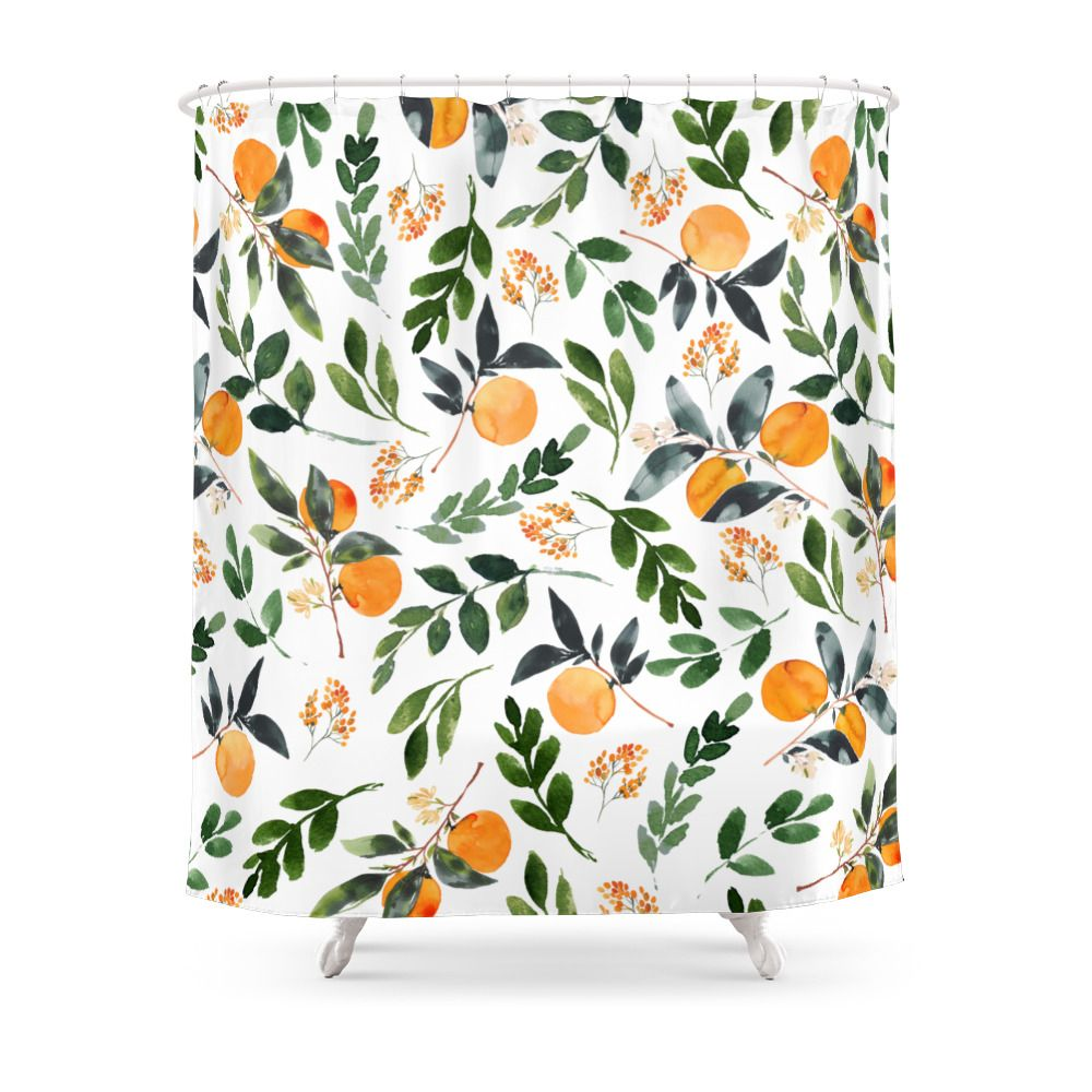 Orange Grove Shower Curtain By Greenhouseprints Products In 2019