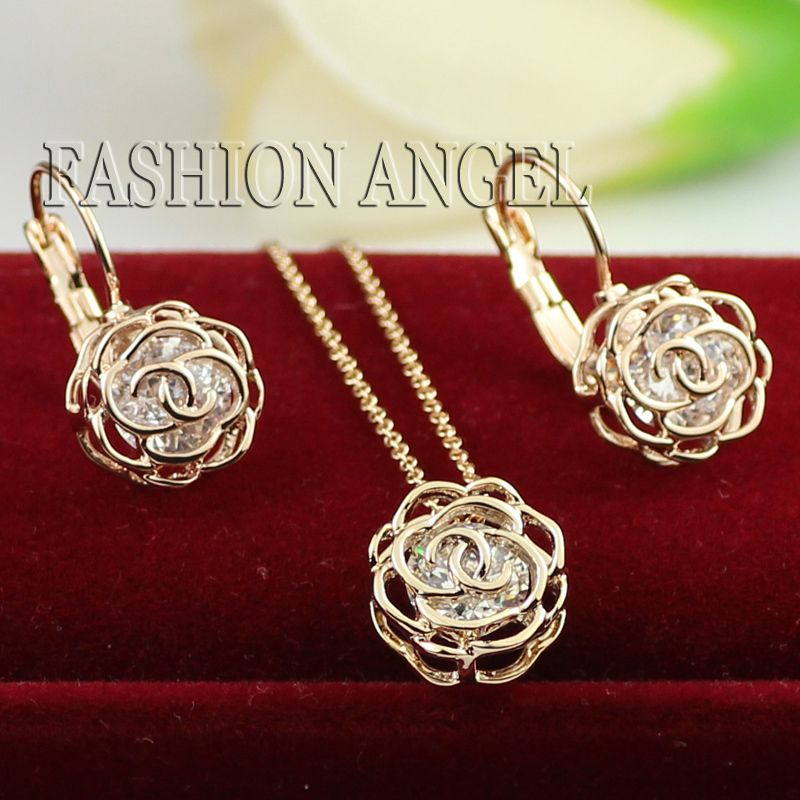 Free Shipping Fashion Peony Crystal Necklace and Earring Set Italina
