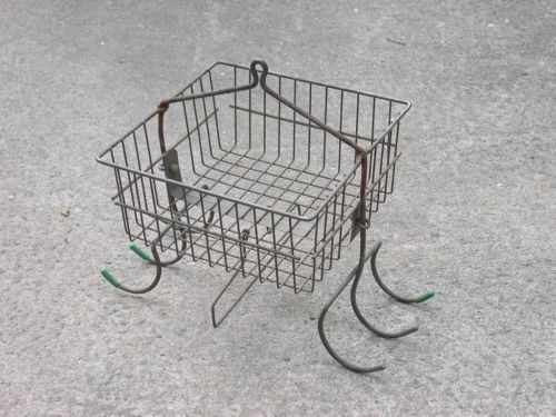 Coal Miners Hanging Wire Clothes Basket Vintage Mining with Hooks Towel Rack