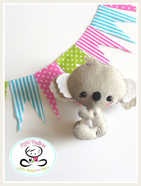 Baby Koala PDF sewing pattern-DIY-Koala bear toy | Прелесть из фетра ...