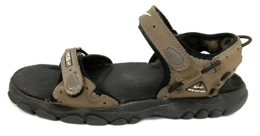 8993efc3cdc Nike ACG Sport Sandals Solid Brown Leather Velcro Strap Shoes Mens Size 11  D  Nike  SportSandals