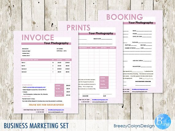 Set of 3 Photography Marketing, Digital Branding Kit, Invoice - are invoice and purchase order the same